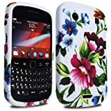MYNC Green Pink Silicone Rubber Gel Bold Flower Print Series Case Cover Skin For BlackBerry Bold 9900