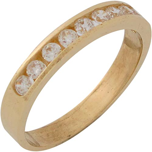 14ct Yellow Gold White CZ Elegant Mens Wedding Anniversary Ring