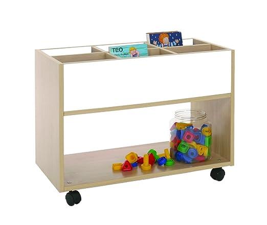 Mobeduc 600904HR23 Carrello-Libreria alta, in legno, colore: faggio/bianco, 80 x 40 x 58 cm