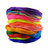 Inspirelle 12-Color 1.2mm Satin Nylon Trim Cord Rattail Silk Cord Chinese Knot Thread for Jewelry Making (20 Yards Each Color, Bright Colors) (Color: Bright, Tamaño: 1.2mm)