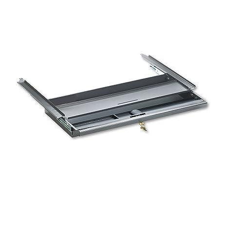 Center Drawer for Double Pedestal Desks, Metal, 24-3/4 x 14-3/4 x 3, Charcoal