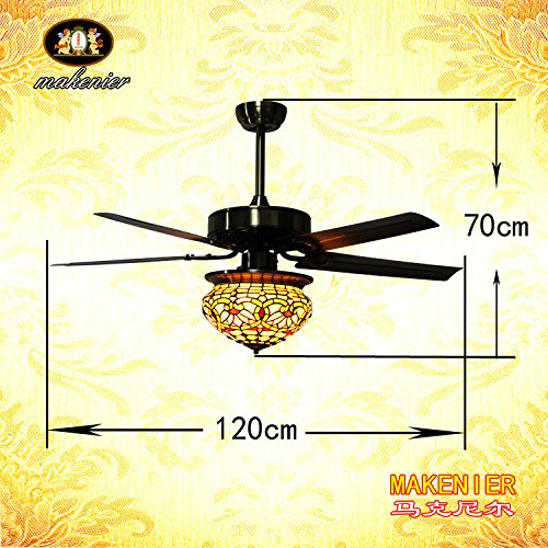 Makenier Vintage Tiffany Style Stained Glass Lotus Single-light Lampshade Ceiling Fan Light Kit, with Metal Blades 4