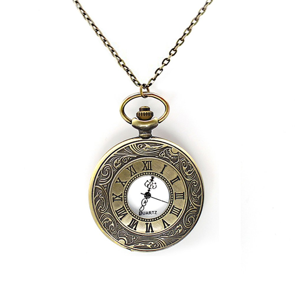 Mifine Antique Roman Pocket Watch Bronze Dial Open Faced Roman Numerals with Vintage Metal Rope 0
