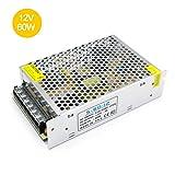 inShareplus 12V DC Universal Regulated Switching Power Supply, 5A 60W, 100-240V AC to DC 12 Volt LED Driver, Converter, Transformer for LED Strip Light (Color: Silver, Tamaño: 12V 60W)