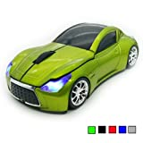 TDRTECH Wireless Car Mouse 2.4Ghz 3D DPI 1600 Cool Sport USB Gaming Mouse Mice for PC Computer Laptop Notebook Green (Color: Green)
