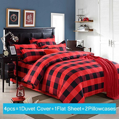 Ttmall Twin Full Queen Size Cotton 4 Pieces Black Red