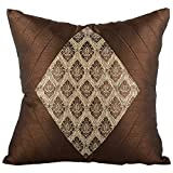 RAVRAUN Silk 5 Piece Cushion Cover Set - Brown And Golden, 16X16 Cms