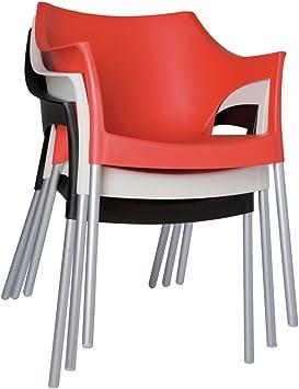 Apilables con reposabrazos silla al aire libre - Color: Color negro. Cantidad de unidades: 4