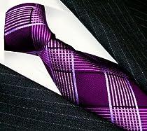 LORENZO CANA - Luxury Italian 100% Silk Woven Handmade Tie Purple White Plaid - 84513