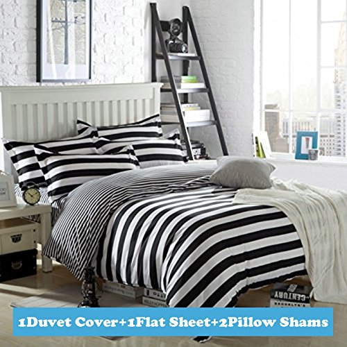 Ttmall Twin Full Queen Size Cotton 4 Pieces Black White