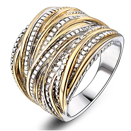 Mytys 18k Gold Plated Vintage Interterwined Two Tone Antique Design Fashion Rings(8)