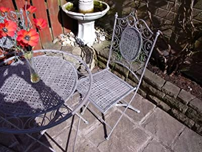 Bistro Set Garden Furniture Table and Chairs Shabby Chic Antique Style - Grey-1