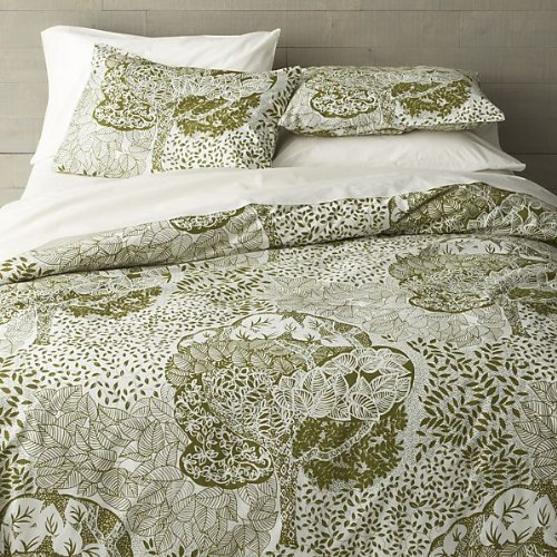 Crate & Barrel Marimekko Eden King Duvet Cover Sage Green, Creamy White back-924204