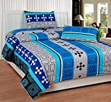 Soni Traders Blue Abstract Design Pure Cotton Double Bedsheet With Pillow Cover- Bedsheet- 90 Inches X 90 Inches; Pillow Cover- 16 Inches X 27 Inches