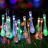Solar Outdoor String Lights,GDEALER 20ft 30 LED Water Drop...
