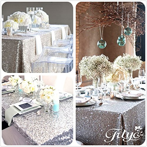 Trlyc 48 39 39 x72 39 39 sale choose your size sequin tablecloth for 10 ft table cloth