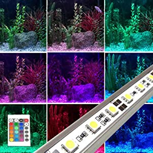 fuloon 12v 2 st ck 50cm farbwechsel led beleuchte aluminiumband f r aquarium beleuchtung led. Black Bedroom Furniture Sets. Home Design Ideas