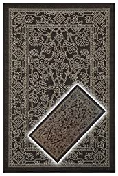 Rubber Back Non-Slip 2-Piece Rug SET Fancy Egyptian Print Traditional Chocolate Brown Area Rug - Rana Collection Kitchen Hallway Entry Pet High Traffic Rug RAN2058-2PC