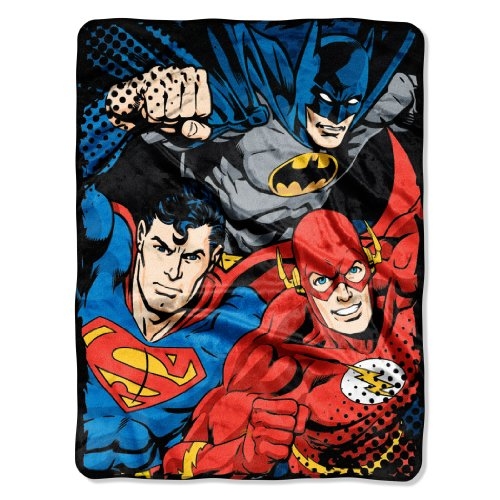 "Warner Bros ""Justice League, League Trio"" Micro Raschel Throw, 46 by 60-Inch at Gotham City Store"