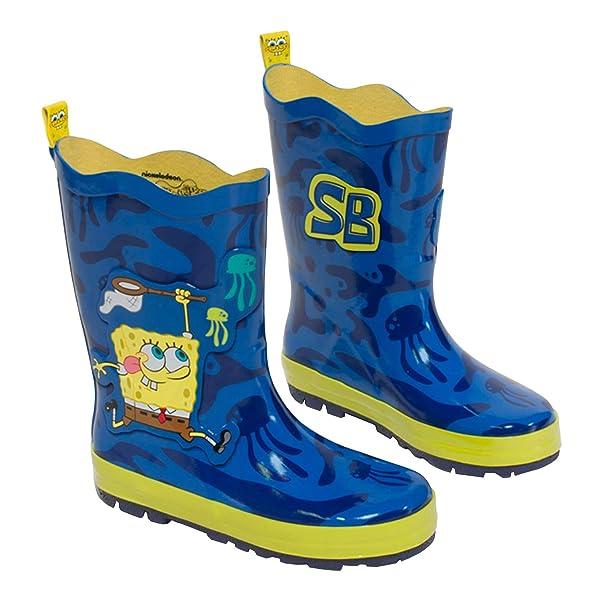 Kidorable Boys' Spongebob Rain Boots, Blue, 5 M US Toddler