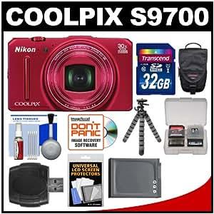 Nikon Coolpix S9700 Wi-Fi GPS Digital Camera (Red) with 32GB Card + Case + Battery + Flex Tripod + Accessory Kit