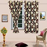 "Cenizas Fancy Polyster Window Curtain Set of 2 - 60""X48"", - Brown (CURT-N0007)"