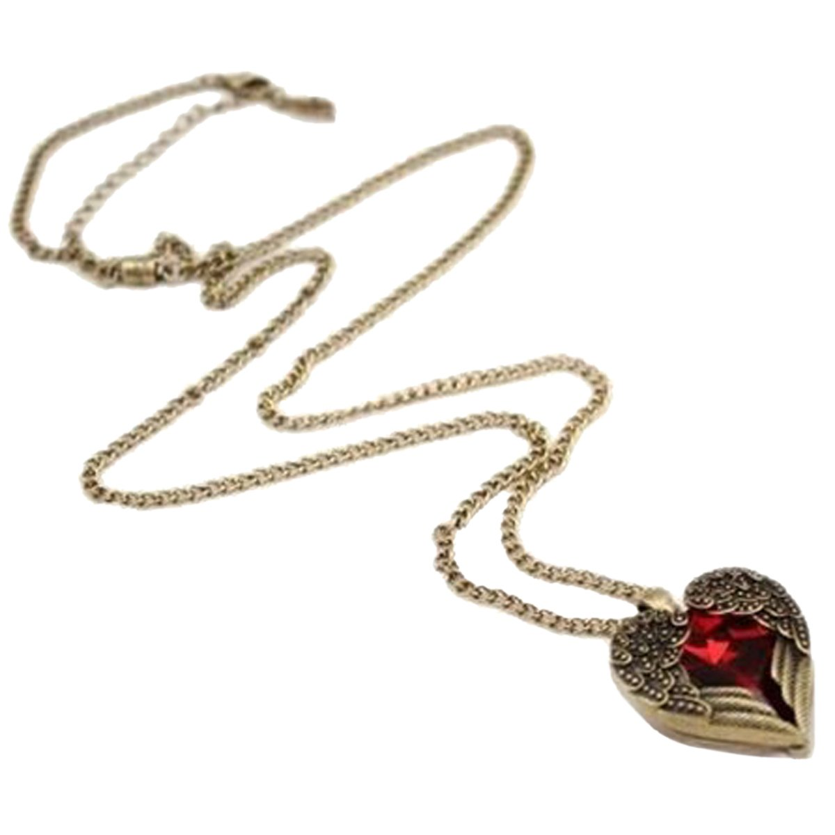 Retro Bronze Chain Red Heart Vintage Palace Pendant