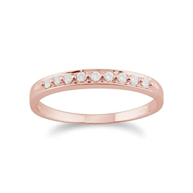 Gemondo Diamond Ring, 9ct Rose Gold 0.10ct Diamond Classic Style Half Eternity Ring
