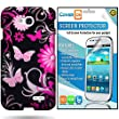 CoverON® LG Exceed 2 / LG Optimus L70 Hard Plastic Slim Case Cover Bundle with Clear Anti-Glare LCD Screen Protector - Pink Butterfly