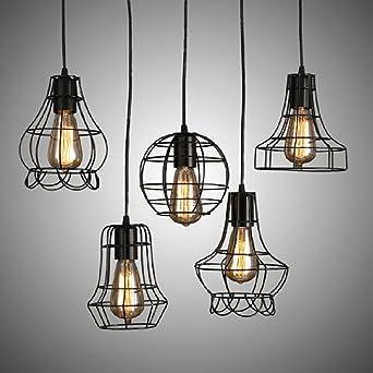 NIKU-Simple creativo colgante Estilo Industrial Retro minimalista luminoso comedor dormitorio Salón Vintage Lámpara Loft lámpara de araña de hierro,Conjunto de 5