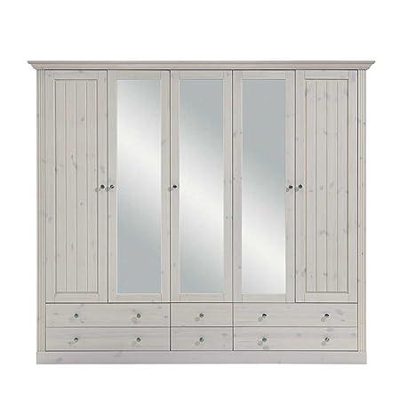 Landhaus Kleiderschrank aus Kiefer Weiß Spiegelturen Pharao24