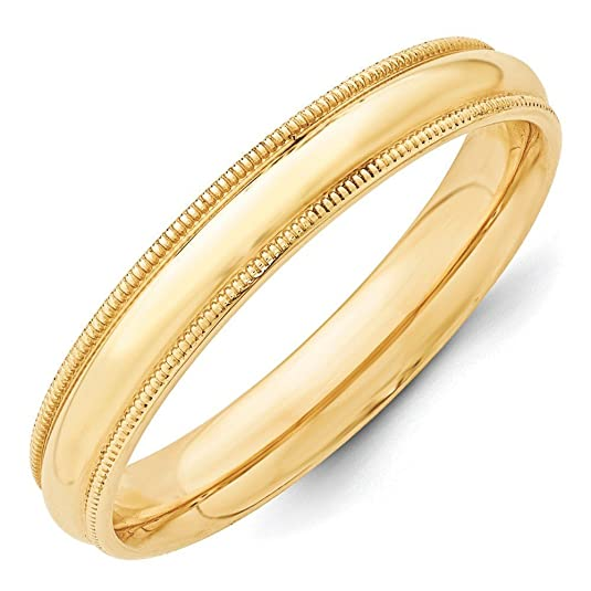 14ct Gold 4mm Milgrain Comfort-Fit Size H Wedding Band Ring