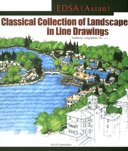 EDSA Asian Classical Landscape Line Drawing