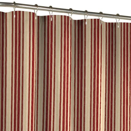Maytex Sorrento Stripe Fabric Shower Curtain Burgundy