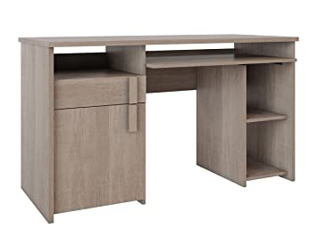BUREAU 1 porte 1 tiroir en panneaux de particules coloris bois, 77x135x60 cm -PEGANE-