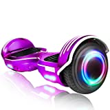 ROCKETX Hoverboard with Bluetooth Speaker LED Wheel (Chrome Purple) (Color: Chrome Purple)
