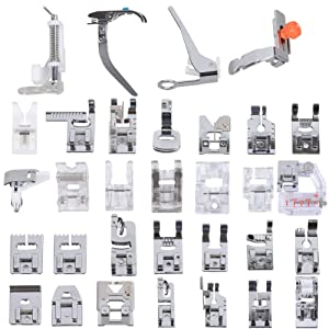 ??? Professional Domestic 32 pcs Sewing Machine Presser Feet Set for Brother, Babylock, Singer, Janome, Elna, Toyota, New Home, Simplicity, Necchi, Kenmore, and White Low Shank Sewing Machines (Color: Basic Packaging 32 Pcs Set)