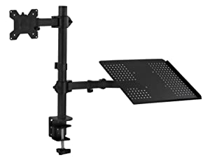 Mount-It! MI-4352MN Laptop Desk Stand and Monitor Mount, Full Motion Height Adjustable Holder, Fits up to 17 Inch Notebooks, VESA 75, 100 Compatible with 22, 23, 24, 27 inch Screens, Carries 44 Lb (Color: Black, Tamaño: Laptop + Monitor)