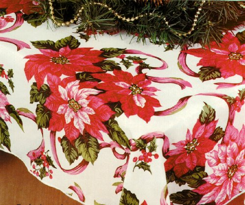 Christmas Tablecloth, Poinsettia Print, 60x84 Inches Oval