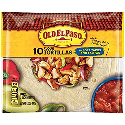 Old El Paso (6-Inch) Flour Tortillas, 10-Count Packages, 8.2 Ounce, (Pack of 12)