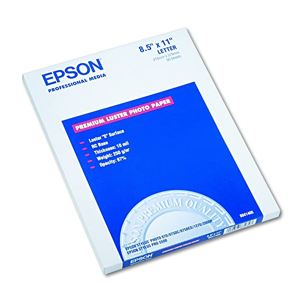 Epson S041405 Ultra Premium Photo Paper, 64 lbs., Luster, 8-1/2 x 11 (Pack of 50 Sheets) (Color: White, Tamaño: 8 1/2 x 11)