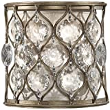 Murray Feiss WB1497BUS Lucia Collection 1-Light Wall Sconce, Burnished Silver Finish with Beige Fabric Shade and Clear Gems