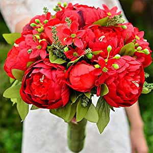 11 Peony Bridesmaid Bridal Flowers Bouquet Bride Wedding