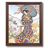 Japanese Girl Woman Butterfly Asian Contemporary Home Decor Wall Picture Cherry Framed Art Print