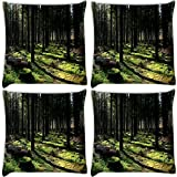 Snoogg Cutting Down The Trees Pack Of 4 Digitally Printed Cushion Cover Pillows 14 X 14 Inch