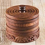 Rusticity Cool Wood Coaster Set of 6 with Holder for beer and other drinks - Tower of Hanoi design | Handmade | (3.75x3.75 in)