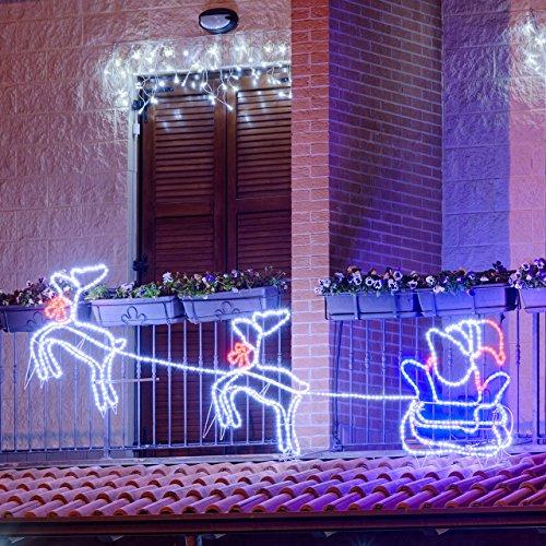 Decorazioni natale renna luminosa con slitta 3d set - Renna natalizia luminosa per giardino ...