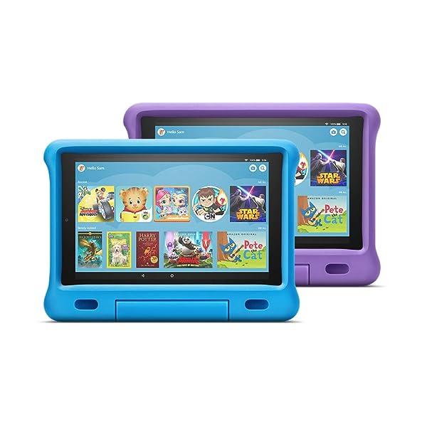 Fire HD 10 Kids Edition Tablet 2-Pack, 10 HD Display, 32 GB, Kid-Proof Case - Blue/Purple (Color: Purple/Blue)
