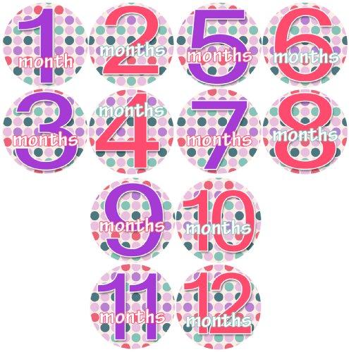 JOLLIE DOTTIE GIRLS 1-12 Month Baby Monthly One Piece Stickers Baby Shower Gift Photo Shower Stickers