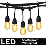 Foxlux Outdoor LED String Lights - 48FT Shatterproof & Waterproof S14 Heavy-Duty Outdoor Lights - 15 Hanging Sockets, 1W Plastic Bulbs - Create Ambience for Patio, Backyard, Garden, Bistro, Cafe (Color: WARM WHITE)